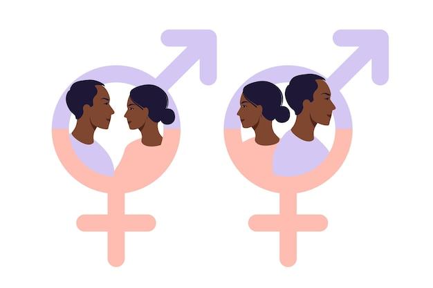 아프리카 남자와 여자 기호입니다. 남녀 평등 기호입니다. 여성과 남성은 항상 동등한 기회를 가져야 합니다. 벡터 일러스트 레이 션. 평평한.