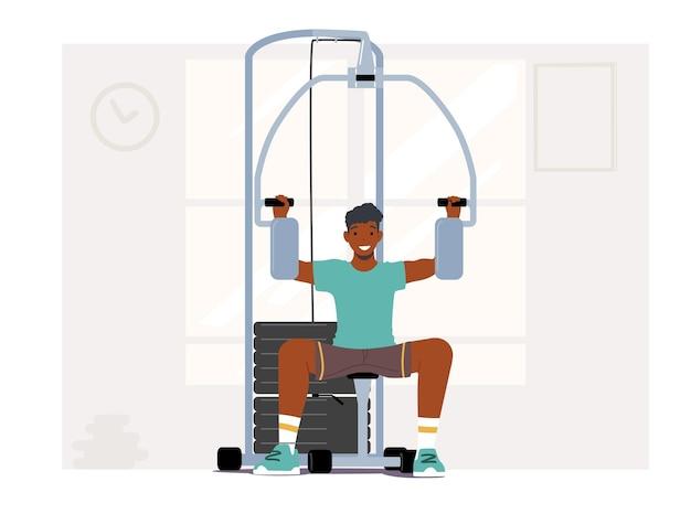 ジムで筋肉をポンピングするアフリカ人のボディービルダー。スポーツマンは、強い腕のトレーニング器具に取り組んでいます。スポーツエクササイズ