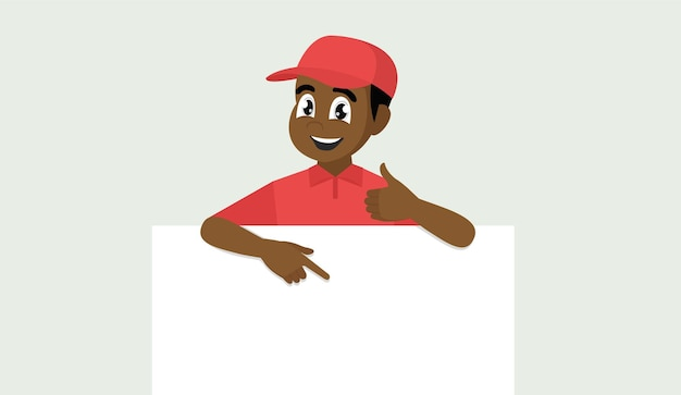 Африканский мужчина в форме, указывая на знамя над белой. портрет доставщика