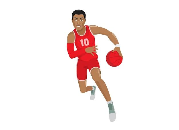 Африканский мужчина бегущий баскетболист с мячом мультипликационный персонаж