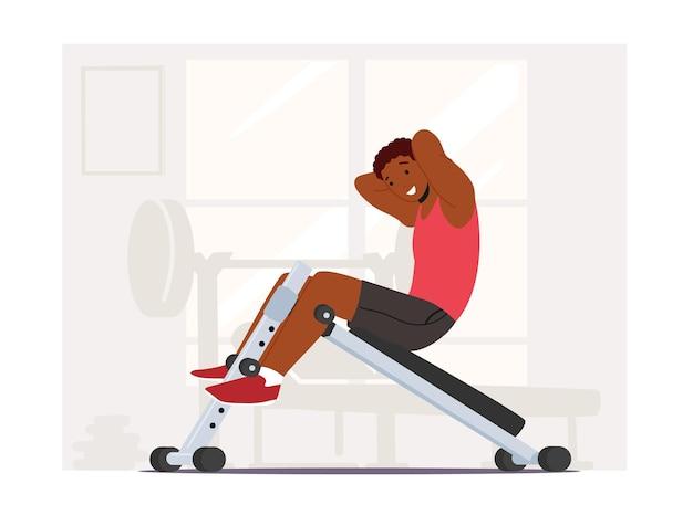 ジムの衰退ベンチでアフリカ人スイングプレス。スポーツマンはトレーニング器具に取り組んでいます。減量マシン、腹筋運動の男性キャラクターフィットネストレーニング。漫画の人々のベクトル図