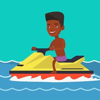 Африканский человек, обучение на гидроцикле в море.