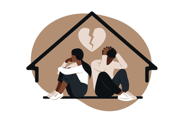 African man and a woman in a quarrel as concept of divorce illustration