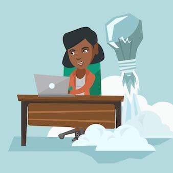 新しいビジネスアイデアに取り組んでいるアフリカのマネージャー。