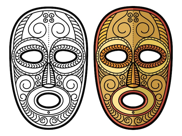 African, mexican aztec tribal mask isolated