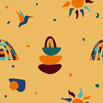 Африканский национальный этнический символ бесшовный фон фон. печать афро-символов для ткани, обоев, упаковочной бумаги для сувенирных магазинов, текстиля для летних платьев, баннеров туристических агентств и т. д.