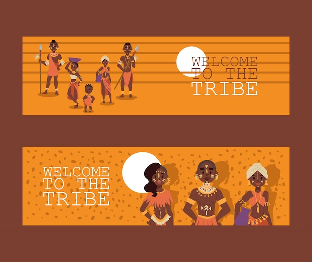 African native family tribe people