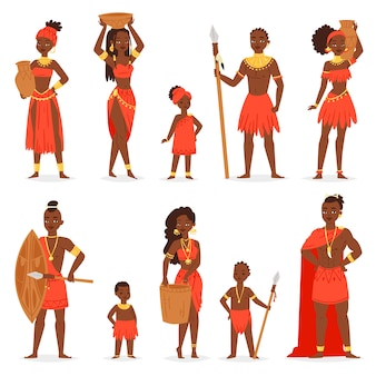 African people  black man beautiful woman character in traditional tribal clothing dress in africa illustration ethnicity set of kids girl and boy in ethnic tribe costume