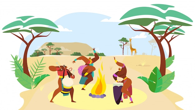 African people dance, man and woman cartoon characters performing traditional culture ritual,  illustration