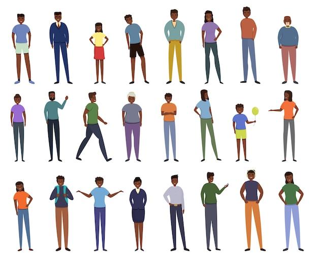 アフリカの人々のアイコンを設定します。アフリカの人々のベクトルのアイコンの漫画セット