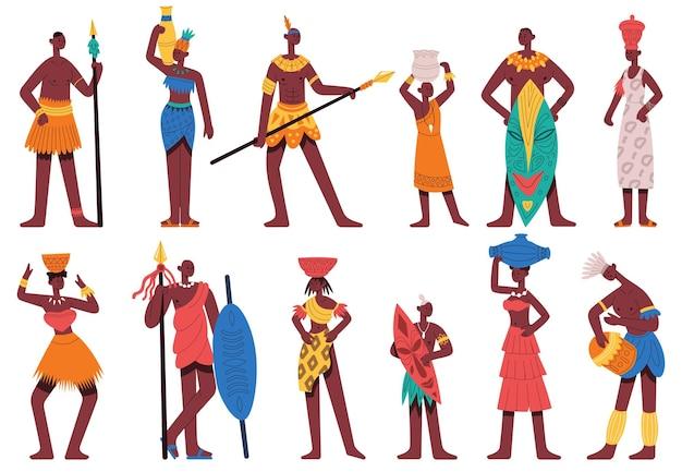 아프리카 사람들. 전통적인 부족 옷을 입은 남성과 여성 캐릭터는 만화 벡터 삽화 세트를 분리했습니다. 아프리카 흑인들. 부족 아프리카 전통 민족 문화