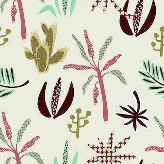 アフリカの植物のシームレスなパターン。