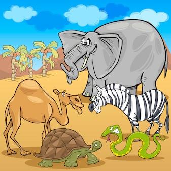アフリカのサファリ動物の漫画のイラスト