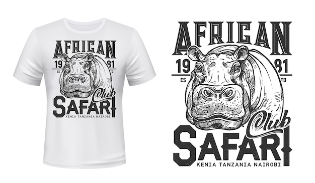 African safari club t-shirt  print with hippo.