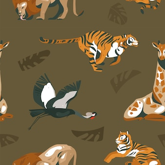 African safari nature and animals seamless pattern