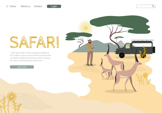 African safari tour landing page vector template