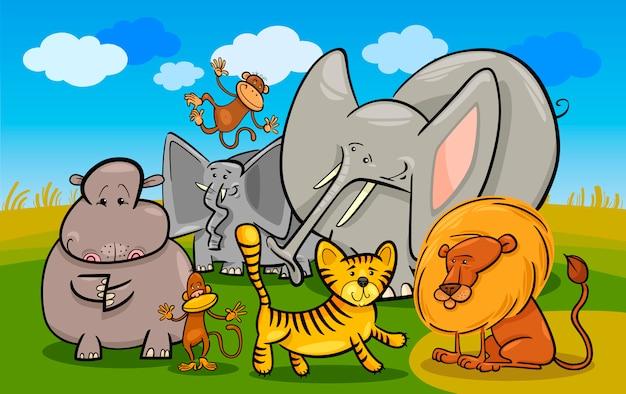アフリカのサファリ野生動物漫画のイラスト