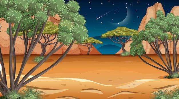 Африканская саванна лесной пейзаж сцена ночью