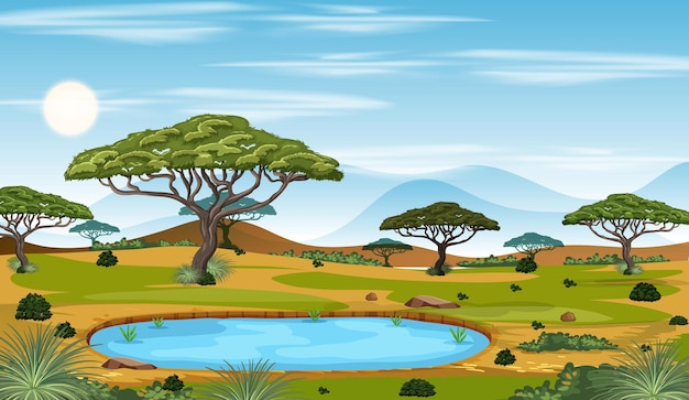 Scena di paesaggio della foresta savana africana durante il giorno