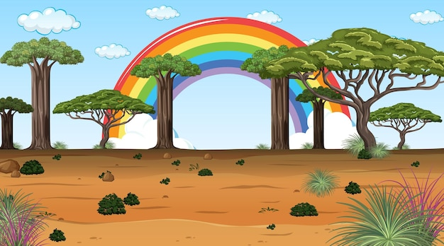 아프리카 사바나 숲 풍경