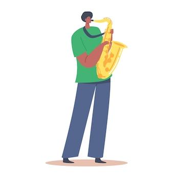 음악가 작곡을 부는 아프리카 색소폰 연주자. 흰색 배경에 고립 된 색소폰을 연주하는 남성 캐릭터. 음악 재즈 밴드 엔터테인먼트, 콘서트. 만화 사람들 벡터 일러스트 레이 션