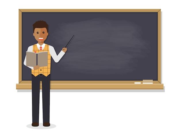 アフリカの先生が教室で教えています。
