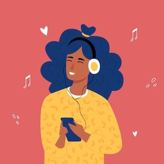ヘッドフォンで音楽を聴いているアフリカの10代の流行に敏感な女の子。トランディ手描きスタイル。 。