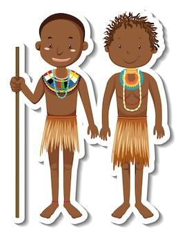 Adesivo personaggio dei cartoni animati uomo tribale africano