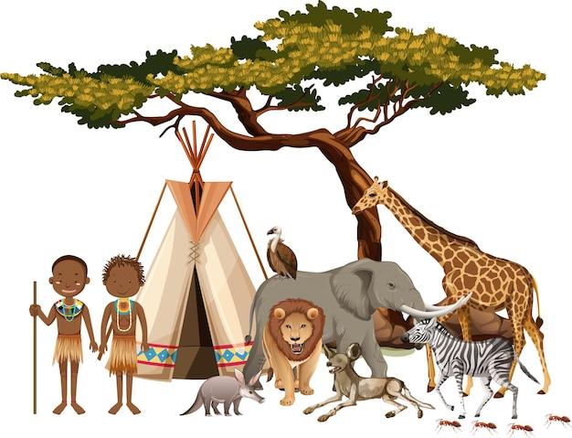 白い背景の上の野生のアフリカの動物のグループとアフリカの部族