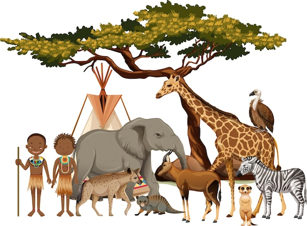 African tribe with group of wild african animal