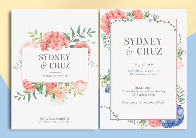 African violet and mix floral watercolor illustration wedding invitation card with text layout