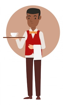 African waiters bring the coffee to the guest