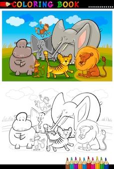 색칠 공부를위한 아프리카 야생 동물 만화
