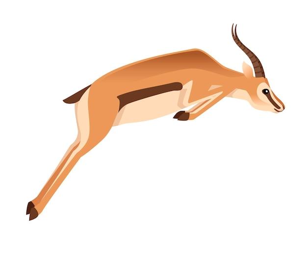 長い角のジャンプ漫画動物デザインイラストとアフリカの野生のコウジョウセンガゼル