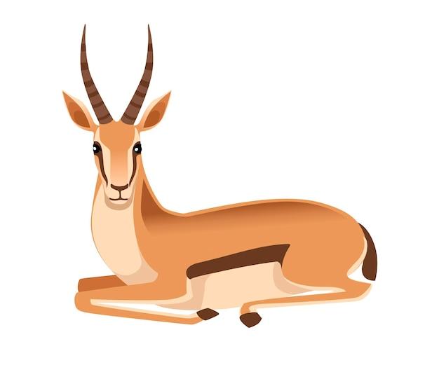 長い角を持つアフリカの野生のコウジョウセンガゼルは、漫画の動物のイラストにあります