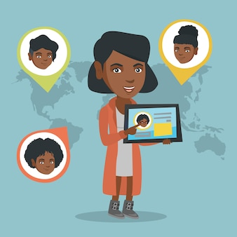 African woman holding tablet with social network