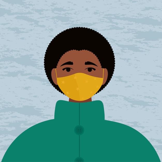 Африканская женщина в защитной маске и теплом пальто. новая зимняя мода.