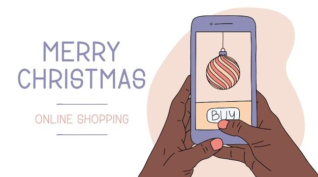 スマートフォンを持っているアフリカの女性または男性の手。クリスマスオンラインショッピング。年末年始フラット漫画イラスト。