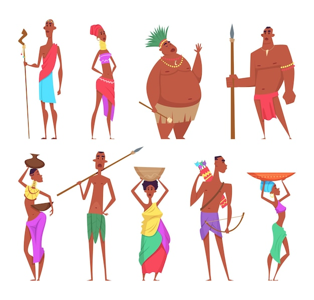Африканская женщина. традиционные черные аутентичные персонажи из африканских этнических групп мужчин и женщин