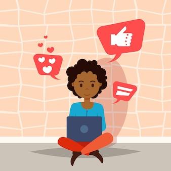 設計作業とアニメーションのフラットのソーシャルメディアアイコン文字テンプレートを考えてラップトップを使用してアフリカの女性