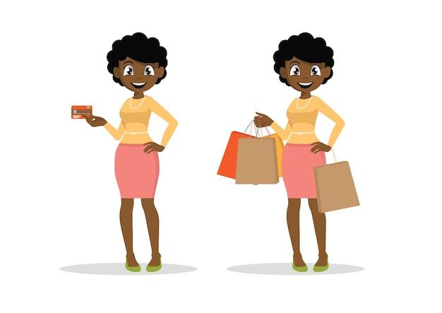 クレジットカードとショッピングをしているアフリカの女性。