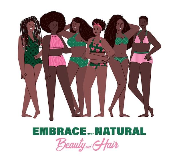 수영복에 서 있는 자연스러운 머리 스타일을 가진 아프리카 여성