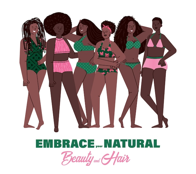 African women with natural hair styles standing in swimwear