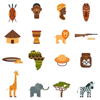 African world flat icons set