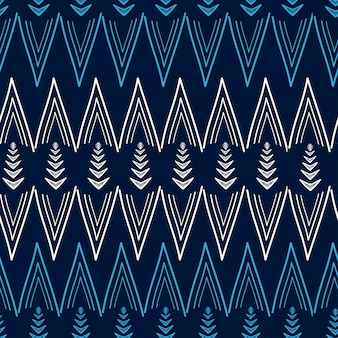 African zigzag tribal pattern with hand drawn multicolor