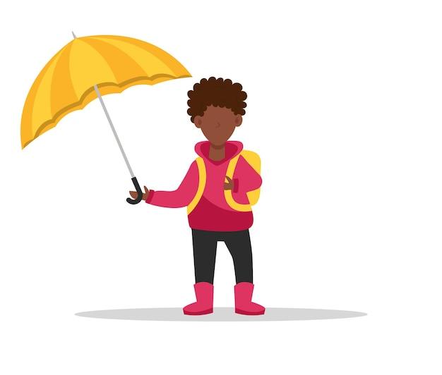 Афроамериканский мальчик под зонтиком обратно в школу ребенок с рюкзаком