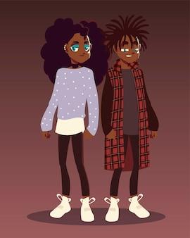 アフロアメリカンの男の子と女の子の若者文化の服のファッションイラスト