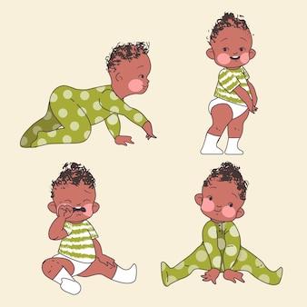 Afro american boy toddler poses