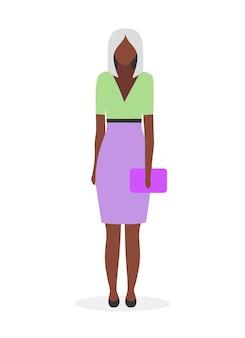アフロアメリカ人実業家フラットイラスト。フォーマルな服装のブロンドの髪を持つ黒人の若い女性。スカートとバッグの漫画のキャラクターを身に着けているエレガントな暗い肌の女性。学生、ビジネスウーマン