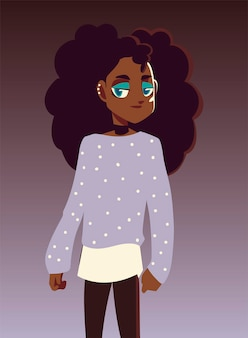 Afro american girl character youth culture clothes  illustration